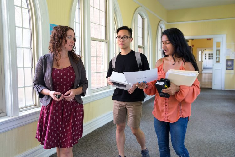 Psychology professor Blair Gross, Dung Nguyen '18, and Avisha Shah '18 walk and talk about their project.