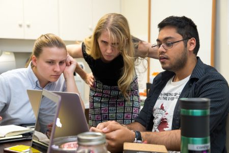 Sustainability coordinator Sara Woodward '16, the Herzog Family Chair of Environmental Studies Karin Warren, and Arnav Upadhyay '19 research local weather patterns.