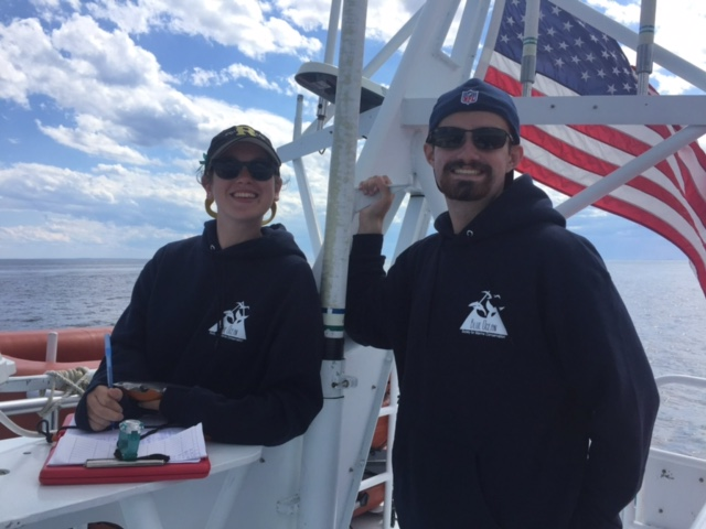 Kati Biggs '18 (left) during a whale watch