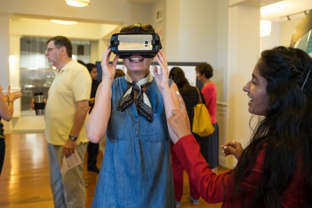 Avisha Shah '18 (right) demonstrates how virtual reality could be used as a classroom tool
