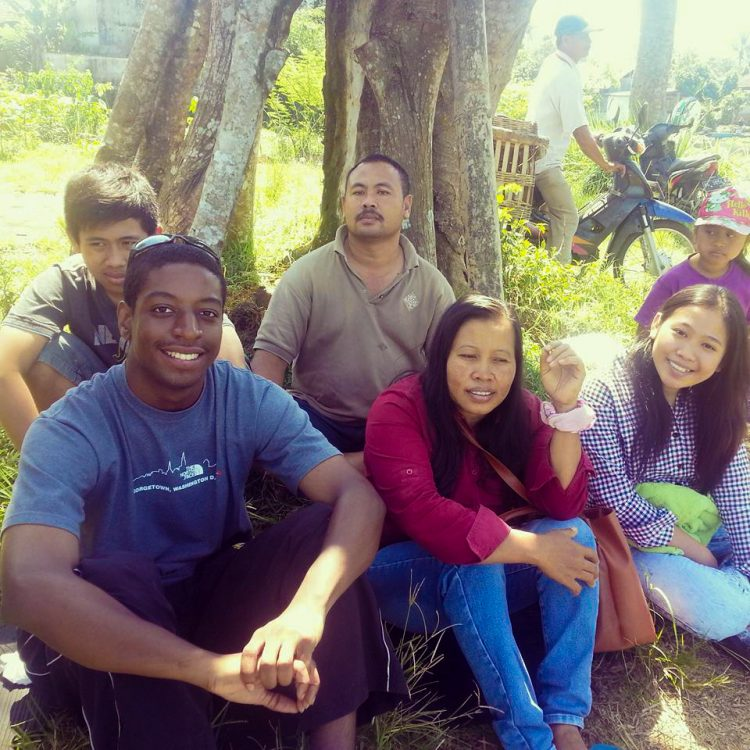 Keenan Hickman '14 (left) worked for the Peace Corps in Indonesia from 2015-2017.