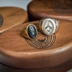 Close-up of class rings from Randolph College and Randolph-Macon Woman's College