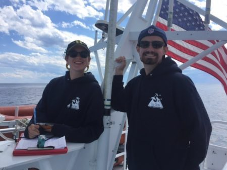 Kati Biggs '18 (left) collected data aboard a whale watching boat during her internship for the Blue Ocean Society for Marine Conservation.