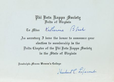 This Phi Beta Kappa certificate was awarded to Katherine Black in the early 1900s.
