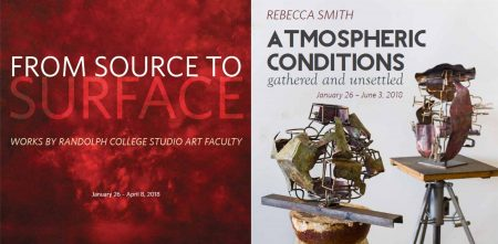 A poster for the upcoming exhibits, From Source to Surface and and Atmospheric Conditions Gathered and Unsettled