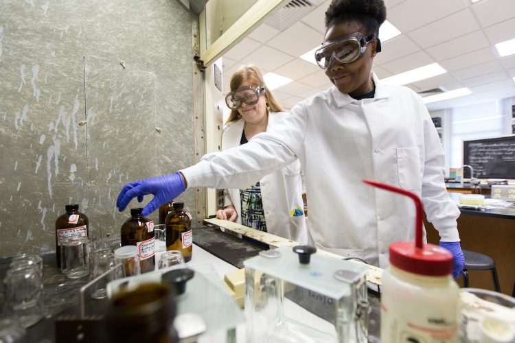Chemistry professor Ann Fabirkiewicz and Drucilla Williams '18 work on their 2017 Summer Research project,