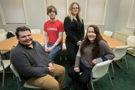 From left, Christian Ridenour '18, Paul Hartman '18, Tristina Balsamo '18, and Helen Macnamara '18 will represent Randolph College in the 2018 VFIC Ethics Bowl.