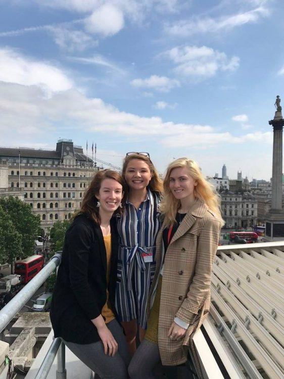 Megan Guzik '19, Alex Wieczorek, and Elisabeth Ayars '19 on the roof of the National Gallery, London