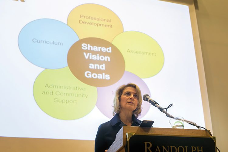 Kristin Genova Richardson '79 delivers the keynote for Randolph's Heick Symposium on Education.