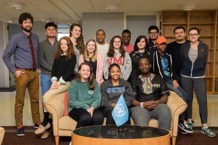 2018 Model United Nations delegates for Randolph College and visiting political science professor Aaron Shreve (left)