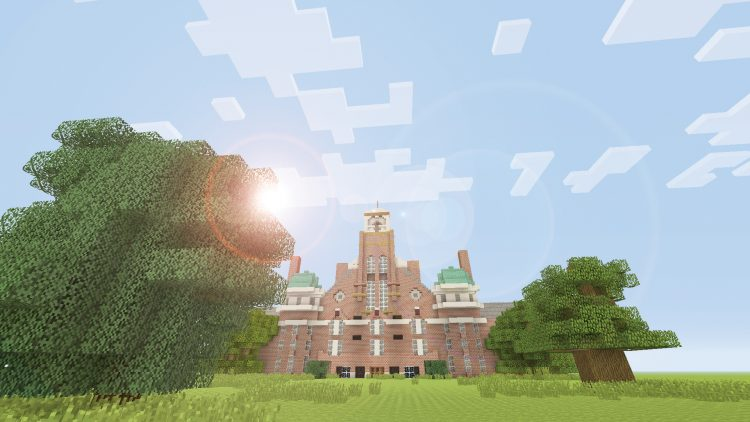 Main Hall at Randolph College as it would look in the world of Minecraft