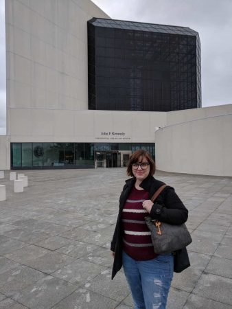Alison Hyler '18 outside the John F. Kennedy Presidential Library and Museum