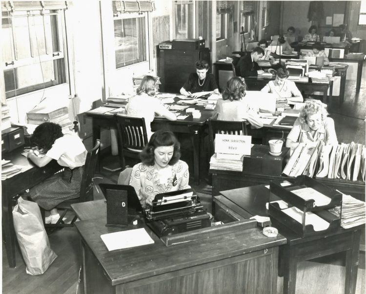 Members of the female cryptology units work in Washington, D.C., during WWII. (Photo courtesy National Security Agency)