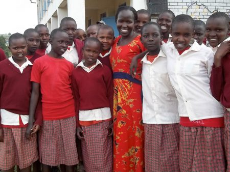 Kakenya Ntaiya '04 with some of the students from the Kakenya Center for Excellence
