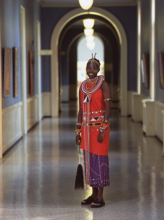 Kakenya Ntaiya '04 dressed in a traditional Maasai outfit for a cultural event at the College.