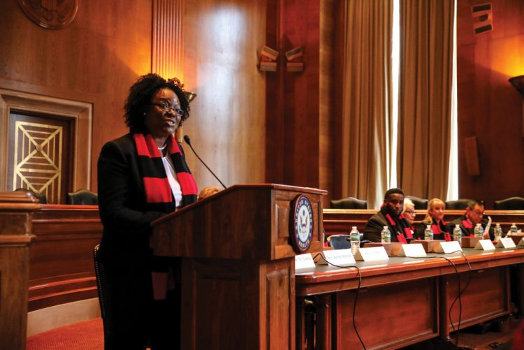LaShawn Worsley McIver '98 addresses members of the United States Senate in 2017 to advocate for affordable healthcare and continued diabetes research funding.