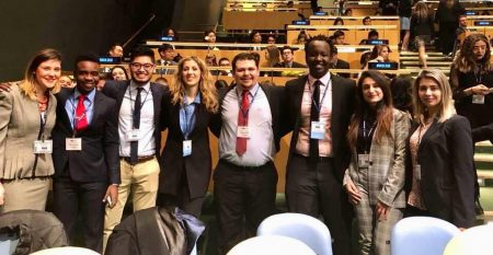 Randolph students and other delegates in the UN chamber
