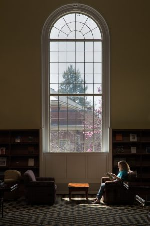 Student sitting in the library, under a large window