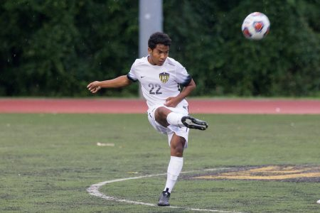 Barun Tamang '22 on the soccer field at Randolph