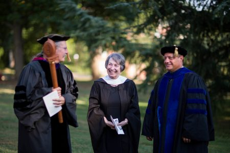 Paula Wallace (Center) during the Convocation ceremony in 2016