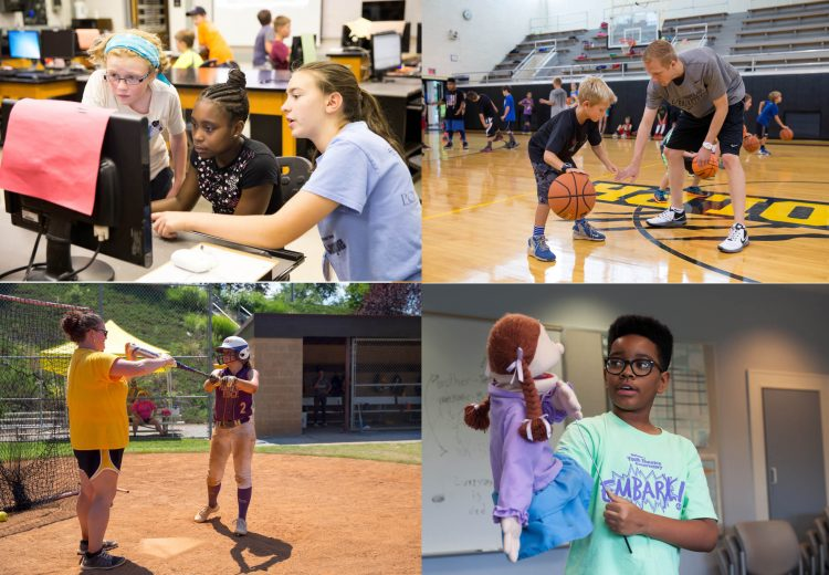 Collage of photos from various Randolph College summer camps