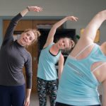 Katlyn Baskin Waldo '06 leads a modern dance class as part of the visiting artist program this spring.