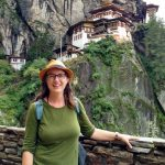 Professor Suzanne Bessenger in front of Tiger's Nest Monastery in Paro, Bhutan