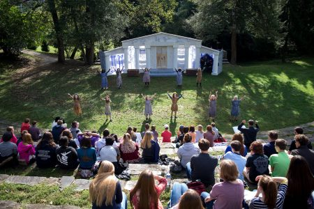 Students perform in the 2016 Greek Play, The Frogs
