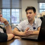 Physics professor Katrin Schenk and Emad Davis '19 collaborate on the project to develop software that helps caregivers monitor Alzheimer's patients