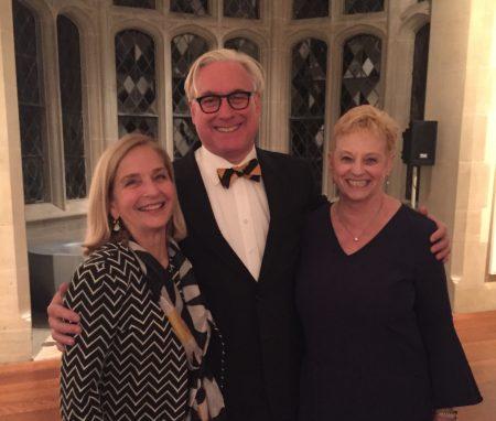 (From left) Lucy Williams Hooper '73, President Bradley W. Bateman, and Barbara Niedland McCarthy '73, recipient of the Vita Abundantior Award
