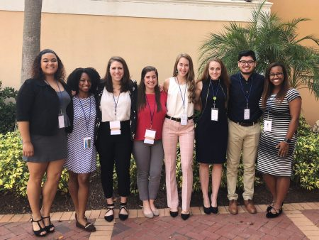 From left, attendees included Tori Green '19, Brittany Lundy '19, staff advisor Amanda Gelber, staff advisor Lisa Quell, Mackenzie Ambrose '21, Leo Galopin '20, Luis Chaparro '19, and Tyrah Cobb-Davis '19.