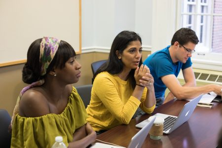 M.F.A. faculty members Wayétu Moore (left) and Mira Jacob (middle) lead a workshop during the first M.F.A. residency program at Randolph this summer.