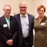 Bill and Ann Hepburn Webb '84 with President Bradley W. Bateman (center)