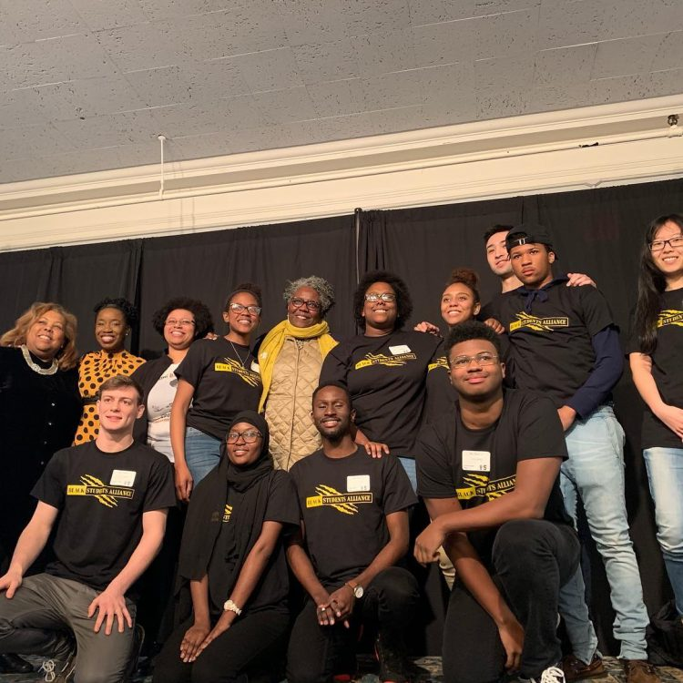 Black Student Association members pictured with the speakers, Ghislaine Lewis '05 and Noliwe Rooks