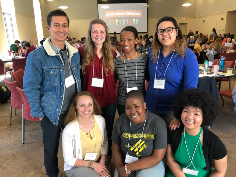 "Front row, L-R: Leo Galopin '20, Jdody Misidor '21, Nokomis Daniels '21; back row: Allen Vaytser '20, Maddy Owens '20, Brittany Lundy '19, and Tori ""Tea"" Green '19"