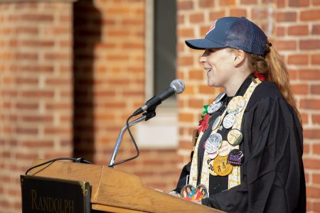 Senior Class President Libby Exline gives remarks during the Founders Day ceremony