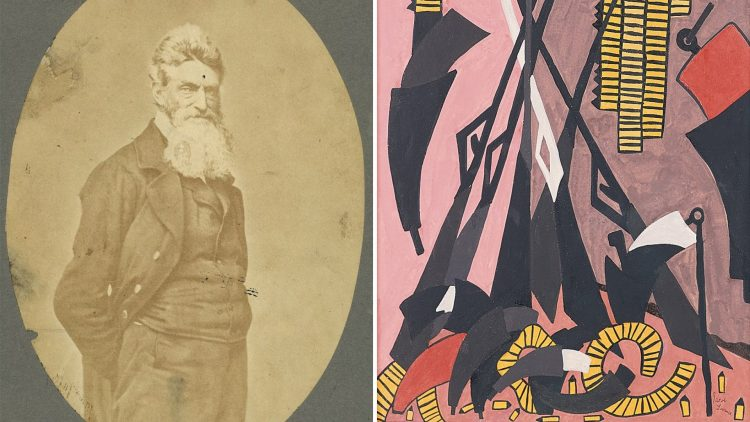 A portrait of Jacob Lawrence (left) next to his painting of John Brown's Arsenal, 1941, gouache on panel, 19 1/2 x 13 1/2 inches.