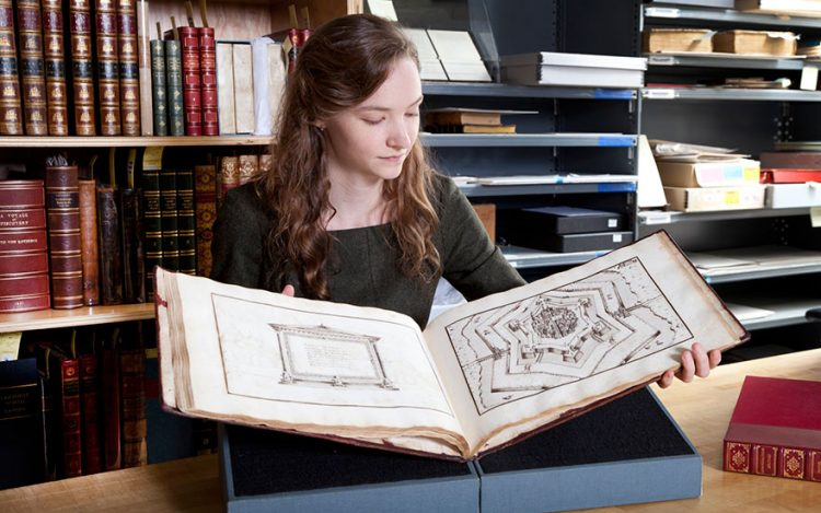 Rhiannon Knol with Immaginazione Militari, created by Marco Verrici in the late 16th century, offered in Fine Printed Books and Manuscripts Including Americana on December 5, 2017 at Christie's in New York - photo courtesy of Christies