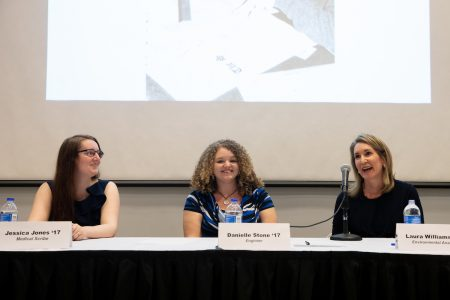 Jessica Sidebottom Jones '17, Danielle Stone '17, and Laura Williams spoke during the Women in Science Panel Friday