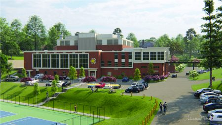 An artistic rendering by Architectural Partners of the newly renovated RAD Center, which will be renamed the Michels Athletic Center (MAC).