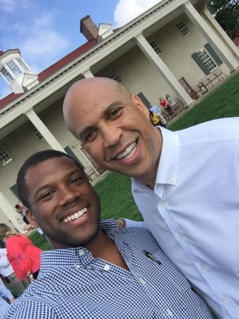 Rashan Colbert and U.S. Sen. Cory Booker pictured together at a recent staff picnic
