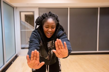 Team founder and captain Renee Sarpong demonstrating a move during practice