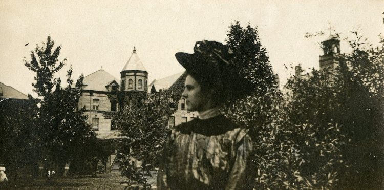 A student on front campus in the 1890s