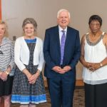 """Frances J. Giles '65, Dorothy """"Dolly"""" S. Cardwell '58, and William Cardwell, along with other recipients of the 2019 humanitarian awards"""