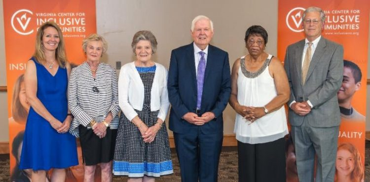 "Frances J. Giles '65, Dorothy ""Dolly"" S. Cardwell '58, and William Cardwell, along with other recipients of the 2019 humanitarian awards"