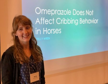 "Reilly Wren made her presentation, ""Omeprazole Does Not Affect Cribbing Behavior in Horses,"" at the ESS conference"