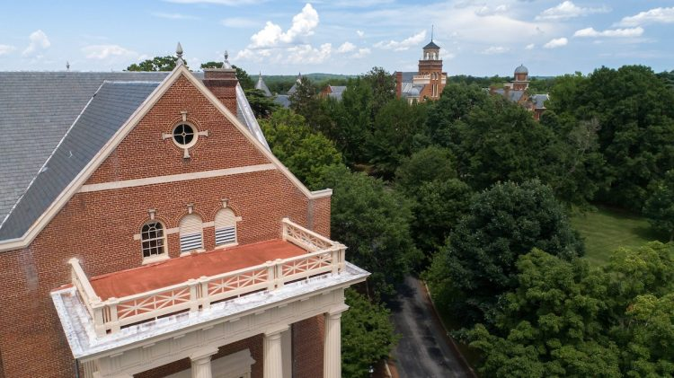 Aerial view of Smith Memorial Building and front campus