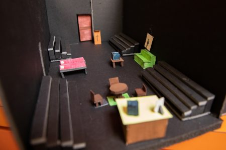 A miniature version of the set for the play Looking for Normal