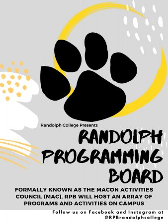 Flyer announcing the name change of Macon Activities Council to Randolph Programming Board