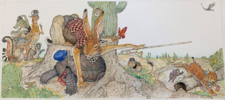 Jerry Pinkney, The Tortoise and the Hare, 2016, watercolor and pencil on paper. Courtesy of the artist.